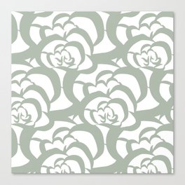 Sage Green Floral Flower Clouds Canvas Print