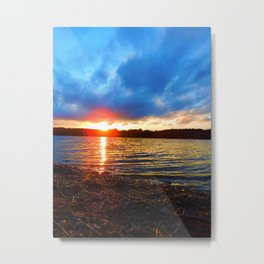 Sunset by the Pond Metal Print