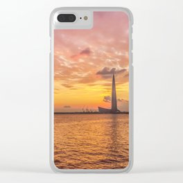 Sunset over Lakhta Center Clear iPhone Case
