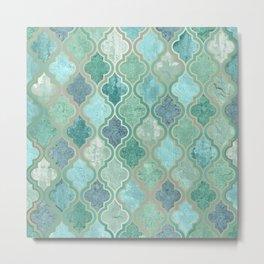 Morocco, Vintage Prints, Teal, Green, Blue Metal Print