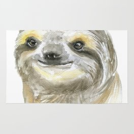 Sloth Face Watercolor Painting Animal Art Rug