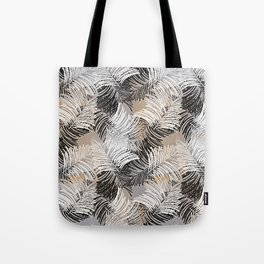Vintage black white trendy tropical palm trees floral Tote Bag