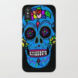 Sugar Skull Blue Floral iPhone Case