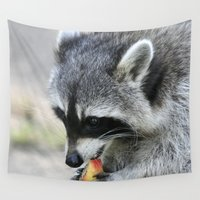 racoon Wall Tapestries featuring Racoon 003 by jamfoto