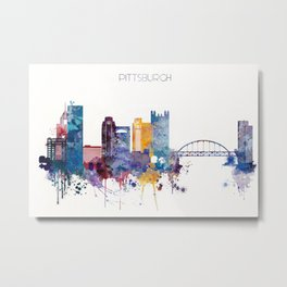Watercolor cityscape of Pittsburgh Metal Print