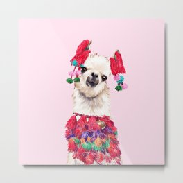 Llama in Colourful Costume Metal Print
