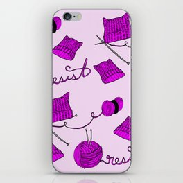 Resist with Pussy Hats and Knitting Needles iPhone Skin