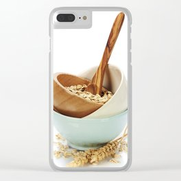 bowl of oat flakes on white background Clear iPhone Case