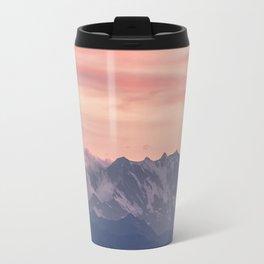 Pink And Blue Pastel Mountains Sky Landscape Sunrise Landscape Travel Mug