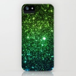 Glitter Galaxy Stars Green Teal Ombre iPhone Case