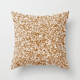 Tiny Spots - White and Brown Throw Pillow