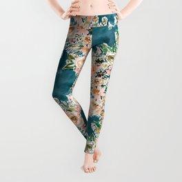VELVET GARDEN Moody Teal Floral Leggings
