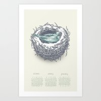 calendar 2015 Art Prints featuring Seasonal Calendar: Winter 2015 by Faille Bloom Illustration