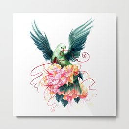 Green Fruit Dove with Flowers Metal Print