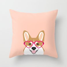 Corgi Love - Valentines heart shaped glasses on funny dog for dog lovers pet gifts customizable dog  Throw Pillow