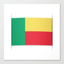 Flag of Benin. The slit in the paper with shadows.  Canvas Print