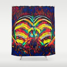 1349s-MAK Abstract Pop Color Erotica Explicit Psychedelic Yoni Buns Shower Curtain
