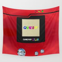 gameboy Wall Tapestries featuring Retro Nintendo Gameboy pokedex pokeball iPhone 4 4s 5 5c, ipod, ipad, pillow case tshirt and mugs by Three Second