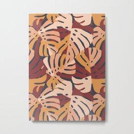 Color Block Monstera Leaves in Maroon Metal Print