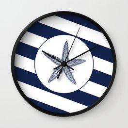 Nautical Starfish Navy Blue & White Stripes Beach Wall Clock