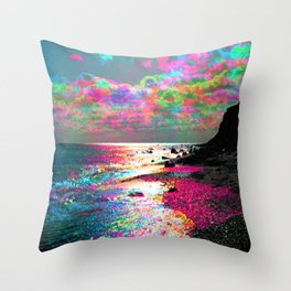 Trippy Serenity Ocean Throw Pillow
