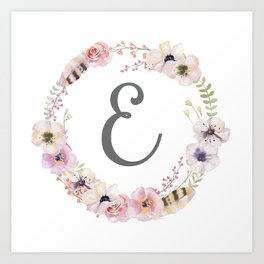 Floral Wreath - E Art Print