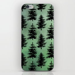 Hand painted watercolor green black winter pine trees iPhone Skin