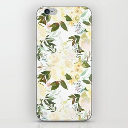 Modern yellow ivory green hand painted roses floral iPhone Skin