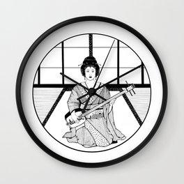 Shamisen and Geisha Wall Clock
