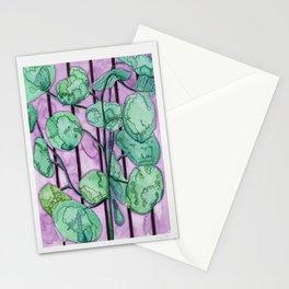Leafy Plant on Purple Background Stationery Cards