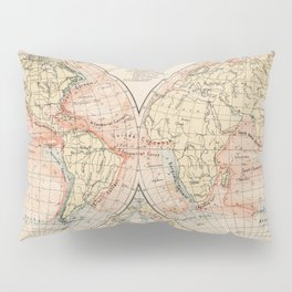 Vintage World Ocean Currents Map (1905) Pillow Sham