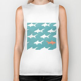 Splashy Sharks Biker Tank