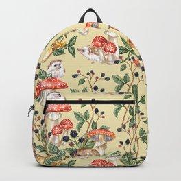 Hedgehogs & Blackberries, pale yellow Backpack