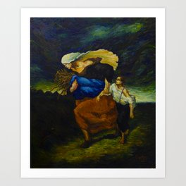 Retreat From the Storm (after Millet) Art Print
