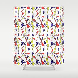 Primary Guitars Shower Curtain