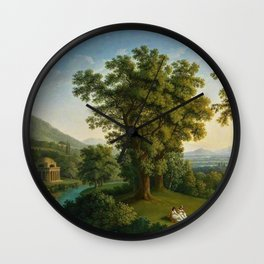 River Landscape with Elements of the English Garden at Caserta, Italy by Jakob Philipp Hackert Wall Clock