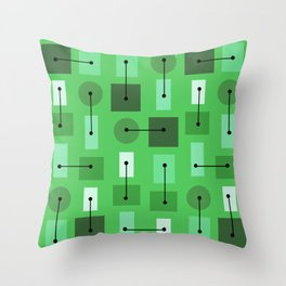 Atomic Age Simple Shapes Green Throw Pillow