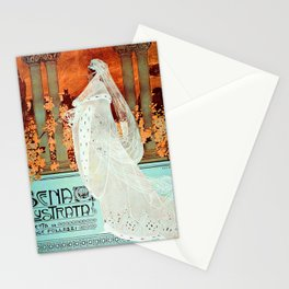 Vintage Italian Art Nouveau Woman Stationery Cards