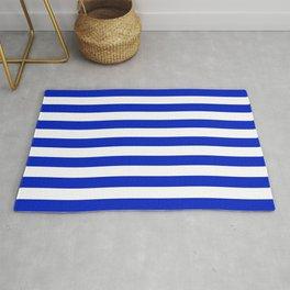 Cobalt Blue and White Horizontal Beach Hut Stripe Rug