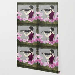 Violin and Roses Wallpaper