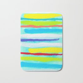 Ocean Blue Summer blue abstract painting stripes pattern beach tropical holiday california hawaii Bath Mat