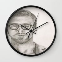 ryan gosling Wall Clocks featuring Ryan by Kristy Holding