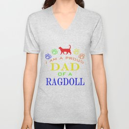 Proud Dad of a Ragdoll Unisex V-Neck