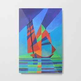 Cubist Abstract Junk Boat Against Deep Blue Sky Metal Print