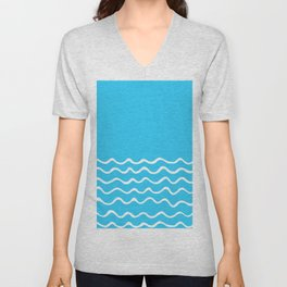 Simple aqua and white handrawn waves 1 - for your summer Unisex V-Neck