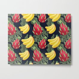 Tropical Fruit Pattern on Black Metal Print