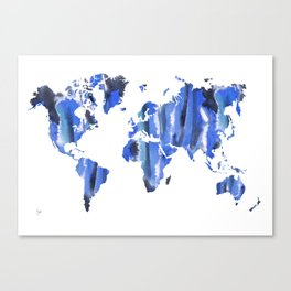 Watercolor World Map (cyan/black/navy) Canvas Print