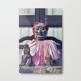 Pindola Bharadvaja wooden Buddhist statue in Nara - Japan Metal Print