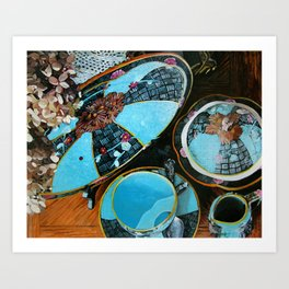 Majolica and Hydrangea Art Print
