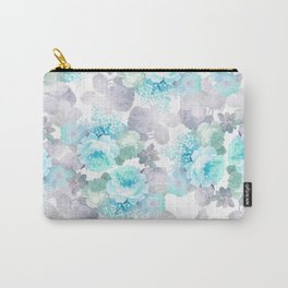 Modern teal gray chic romantic roses flowers Carry-All Pouch